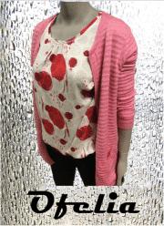 OFELIA Melody bluse. Rød print