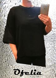 OFELIA Nynneh oversize bluse med foer. Sort