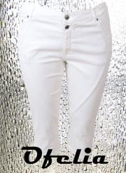 OFELIA Nora super stretch pirat bukser. Hvid