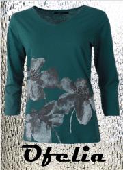 OFELIA Petra t-shirt med 3/4 ærme - mosgrøn