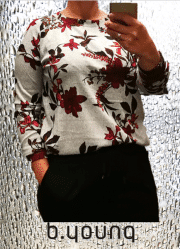 B.YOUNG Pieta bluse med print. Light grey melange