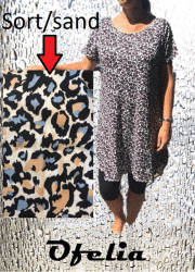 OFELIA Rie viscose kjole. Sort/sand/blå print