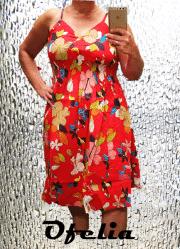 OFELIA Rikka kjole. Rød med print