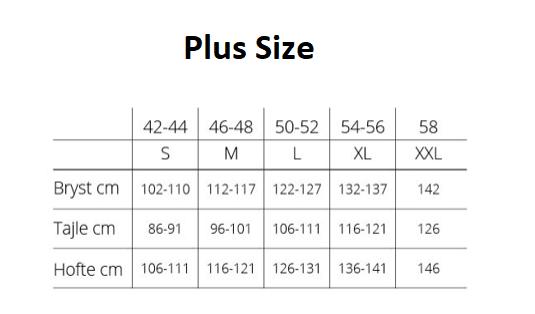 Størrelsesguide Plus Size
