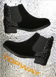 "Korte støvler med ""glimmer"" hæl"