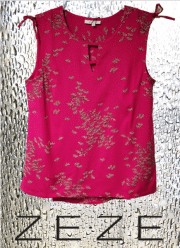 ZE-ZE Moore bluse med print. Pink
